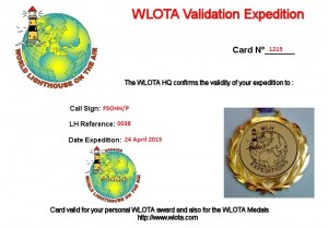 Carte de validation de l'expédition en WLOTA