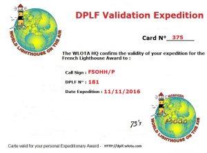 Carte de validation pour le DPLF