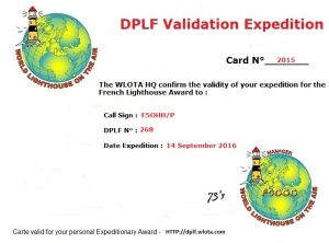 Certificat de validation de Beg ar Vechen