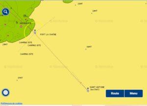 Source Navionics carte de l'alignement 137,3°