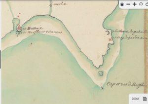 * Batteries de canons de Barfleur et Gatteville carte de 1703